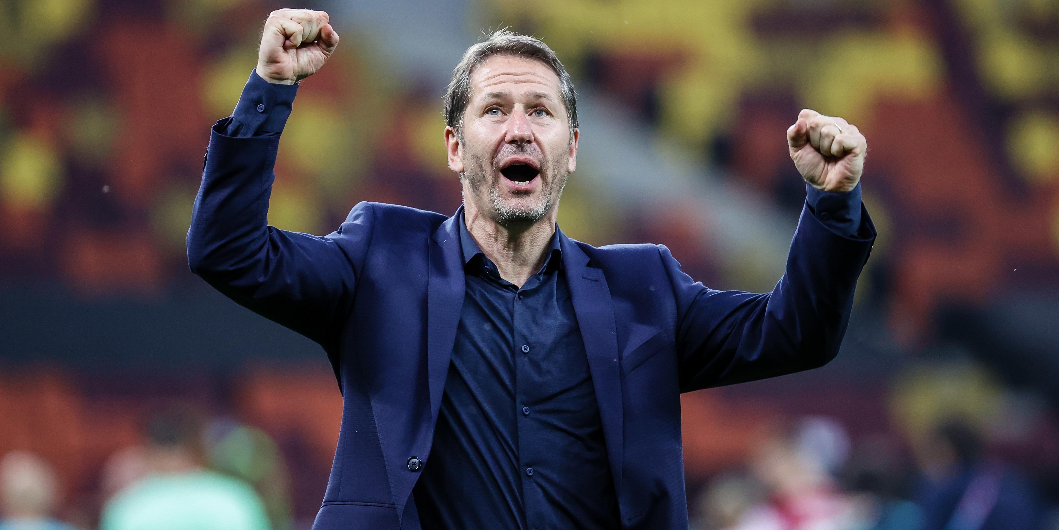 Teamchef Franco Foda jubelt über den 1:0-Sieg gegen die Ukraine