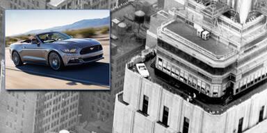 Neuer Mustang auf dem Empire State Building