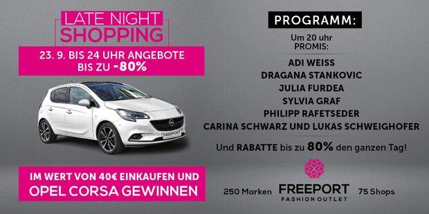 Gewinnen Sie einen Opel Corsa! Late Night Shopping am 23. September im Freeport Fashion Outlet!