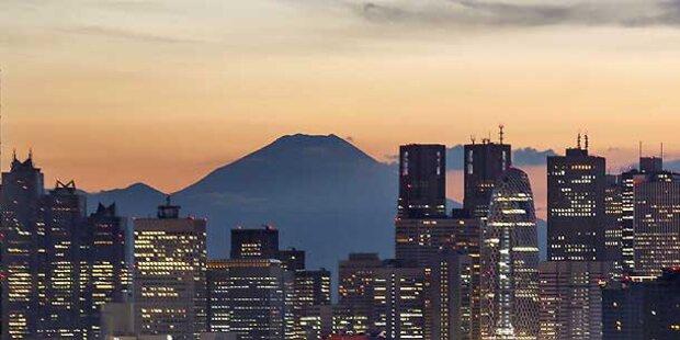 Vulkan Fuji steht vor dem Ausbruch