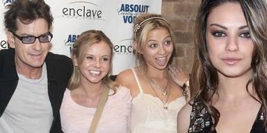 Charlie Sheen mit Bree Olson und Natalie Kenly, Mila Kunis