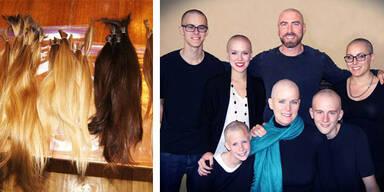 Familie rasiert sich Glatzen aus Liebe zur Mutter