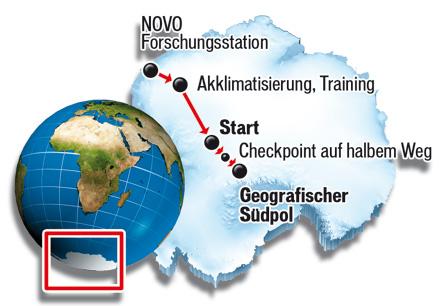 Hermann Maier 'Wettlauf zum Südpol' Route