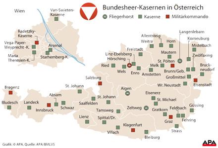 Kasernen in Österreich
