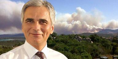 Waldbrand auf Sardinien: Faymann nicht betroffen