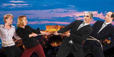Tauziehen um Griechenland / Merkel / Fekter / Faymann / Samaras