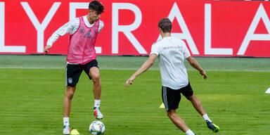 Kai Havertz und Thomas Müller im DFB-Training