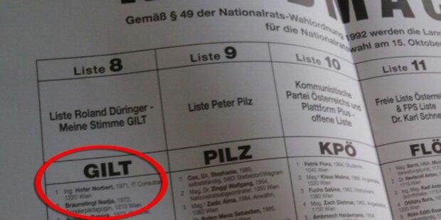 Norbert Hofer kandidiert für Düringer-Liste G!LT