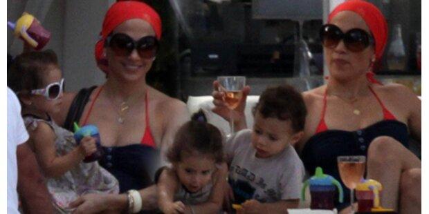 So strahlt Jennifer Lopez mit ihren Kids