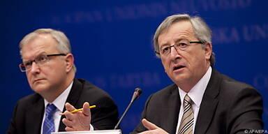 Juncker (r.) und Rehn kündigen bilaterale Hilfen an