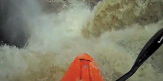 Kajakprofis stürzen sich 27m Wasserfall hinunter