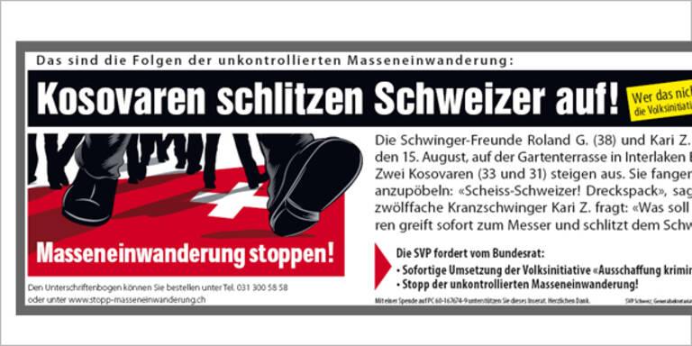 Volksverhetzung in der Schweiz aufgezeigt