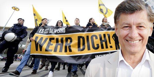 FPÖ-Mann bei Identitären-Demo
