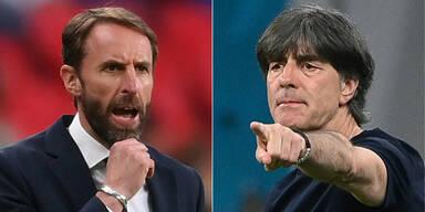 England-Coach Garteh Southgate und Deutschland-Trainer Jogi Löw