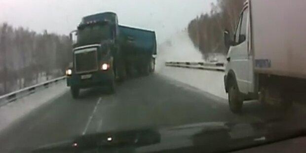Schreck des Lebens: LKW außer Kontrolle