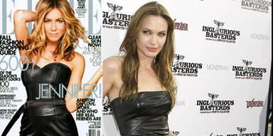 Lederkleid: Jennifer Aniston vs. Angelina Jolie