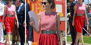 Königin Letizia im Colourblocking-Look