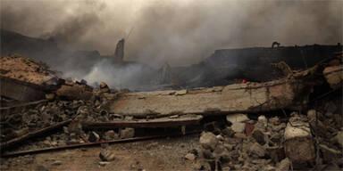 Libyen Ruine Rauch Bombe
