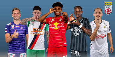 Alexander Grünwald (FK Austria Wien), Taxiarchis Fountas (SK Rapid Wien), Karim Adeyemi (Red Bull Salzburg), Kelvin Yeboah (SK Sturm Graz) und Christoph Monschein (LASK)
