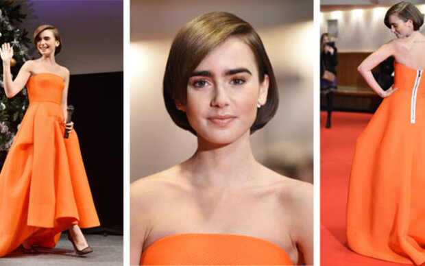 Lily Collins verzaubert in Orange