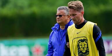 Luuk deJong beim Training der Niederlande
