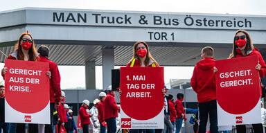 SPÖ-Kundgebung vor MAN gegen Superreiche und ÖVP