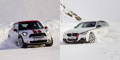 Mit Allradlern von BMW & Mini am Gletscher