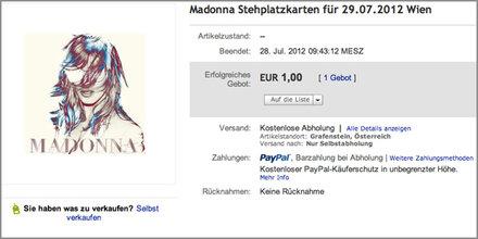 Madonna: Konzert-Tickets im Ausverkauf