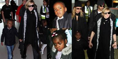 Madonna, Jesus Luz, Mercy und David am Weg nach Malawi