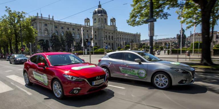 Verbrauchswettfahrt mit dem Mazda3 durch Wien