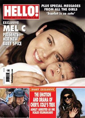 Melanie Chisholm am Cover von Hello! mel c baby scarlett