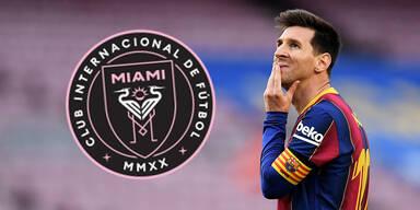 Barcelona-Superstar Lionel Messi mit dem Logo von Inter Miami (Major League Soccer)