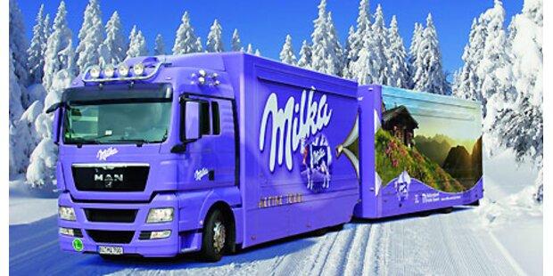 Milka Weihnachtstruck versüßt das Warten