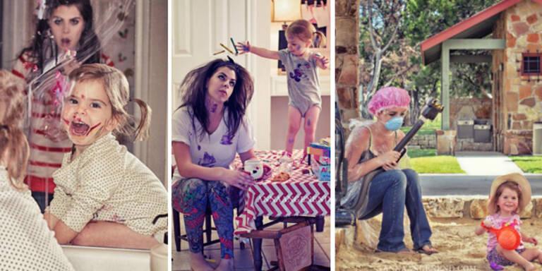 Fotografin zeigt lustige Szenen des Mama-Alltags