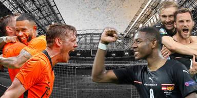 Foto-Collage Niederlande gegen Österreich