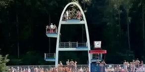 Männer springen in leeres Becken - tot