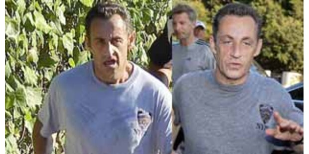 Präsident Sarkozy läuft gerne im gleichen Shirt