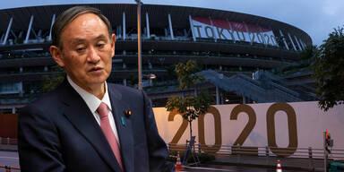 Olympia-Stadion Tokio - Japans Ministerpräsident Yoshihide Suga