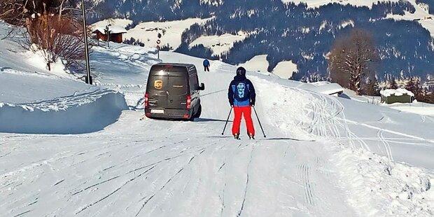 Paket-Zusteller von Navi auf Skipiste gelotst