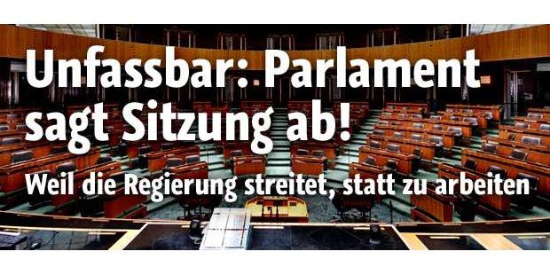 Parlament: Sitzung abgesagt