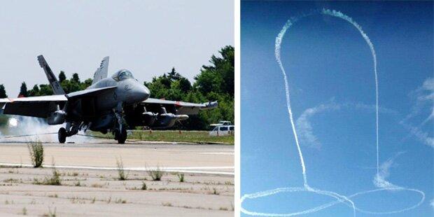 Kampfjet malt Penis-Bild an den Himmel