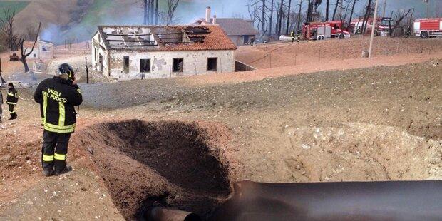 Gasleitung nach Erdrutsch explodiert
