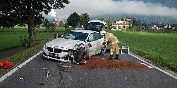 Vier Verletzte bei Frontalcrash im Pinzgau