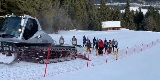 Pistenraupe als 'VIP-Lift' für Ski-Ladys