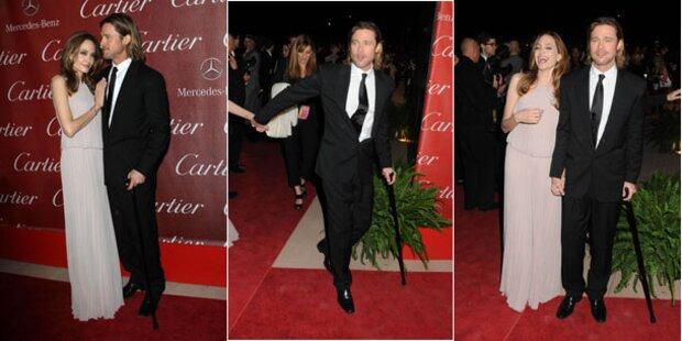 Skiunfall: Brad Pitt bei Gala auf Krücken