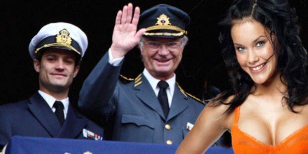 Schwedenkönig begeistert von Bikinimodel