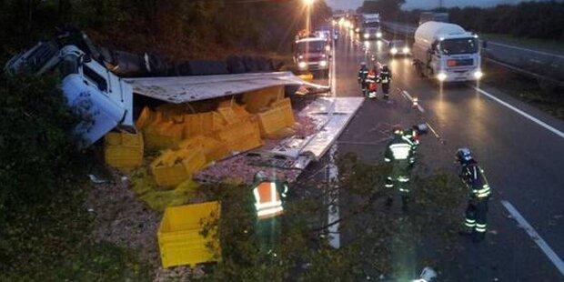 Unfall: Putenfleisch blockiert A1