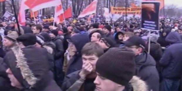 Demo gegen Putins Wahlsieg in Moskau