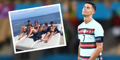 Ein frustrierter Cristiano Ronaldo mit einem Bild aus seinem Urlaub