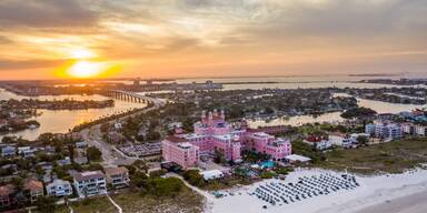 St. Pete Beach Don Cesar Resort Aerial Sunrise